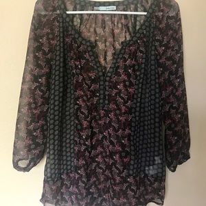 Maurices Sheer Flowy Print 3/4 Sleeve Blouse
